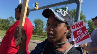 Lansing Delta Township General Motors temp worker Ariel Gardner speaks about strike