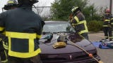 "Officials participating in the ""Fire Ops 101"" program learn the vehicle extrication process Sunday morning in St. Cloud."