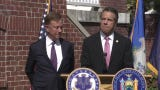 New York Gov. Andrew Cuomo and Connecticut Gov. Ned Lamont met at the governor's mansion in West Hartford on Sept. 25, 2019, to discuss ways the neighboring states can work together to address vaping illnesses and develop a plan to legalize recreational marijuana.